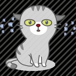 cartoon, cat, character, emoji, emoticon, kitty, nervous icon