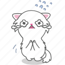cartoon, cat, character, emoji, emoticon, kitten, sad icon