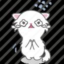 cartoon, cat, character, emoji, emoticon, kitten, sad icon