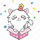 cartoon, cat, character, emoji, emoticon, kitty, party icon