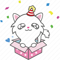 cartoon, cat, character, emoji, emoticon, kitty, party icon