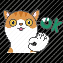 cartoon, cat, character, emoji, emoticon, ok, okay icon