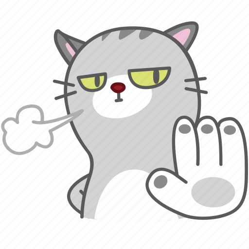 cartoon, cat, character, emoji, emoticon, no, stop icon