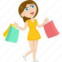 cartoon girl, cartoon women, shopping icon