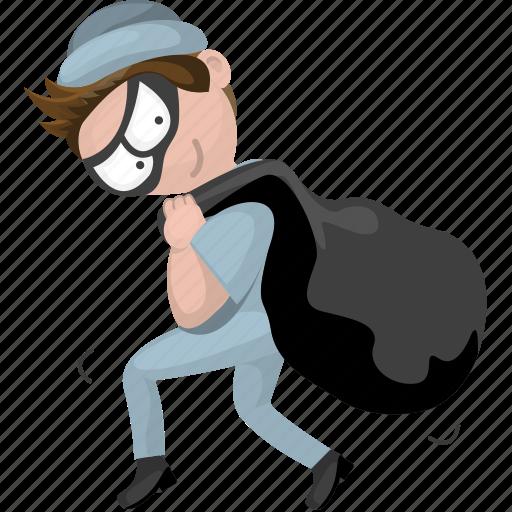 cartoon character, cartoon people, cartoon thief, thief icon