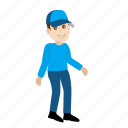 cartoon, character, delivery boy, emoji, emoticon, emotion icon