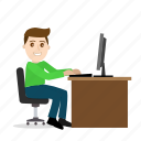 boy, cartoon, emoji, emoticon, emotion, office, working icon