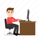 cartoon, computer, office, programmer, working icon