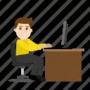 boy, cartoon, emoji, emoticon, emotion, office, working icon
