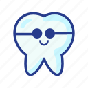 character, cool molar, dental, dentist, medical, molar, tooth icon
