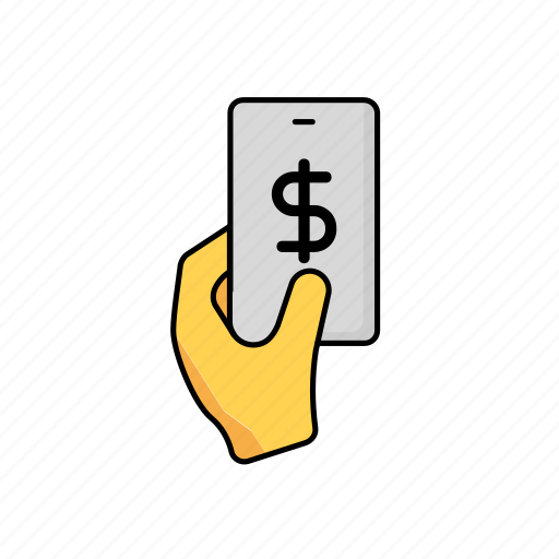 business, contactless, payment, phone, usd icon