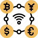 digital, currency, exchange, trading, monetary icon