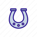 casino, contour, horseshoe, linear icon