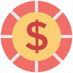 casino chip, dollar symbol, gambling, game, money, poker, roulette icon
