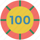 casino, casino chip, gambling, game, hundred, luck icon