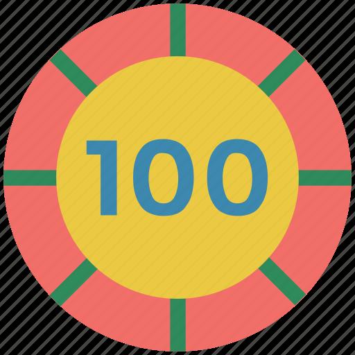casino, casino chip, gambling, game, hundred, luck icon
