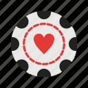 casino, chip, gambling, heart, luck, poker, win