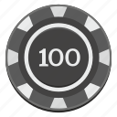casino, chip, dark, game, hundred, sid icon