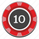 casino, chip, gamble, gambling, game, red, ten icon