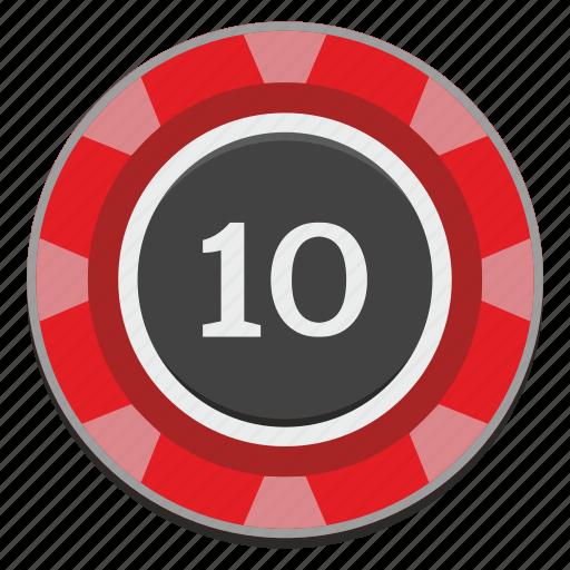 casino, chip, gamble, gambling, game, red, ten icon