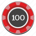 casino, chip, gamble, gambling, game, hundred, red icon