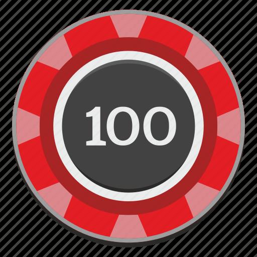 casino, chip, gamble, gambling, game, hundred, red icon