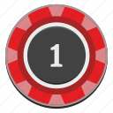 casino, chip, gamble, gambling, game, one, red icon