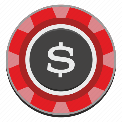 Usd, chip, casino, dollar, game, gamble, red icon