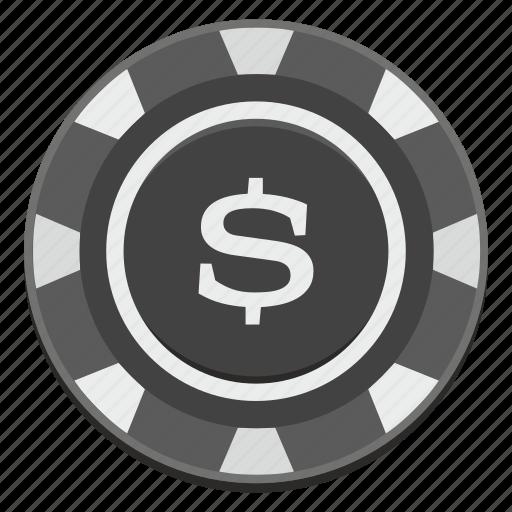 casino, chip, dark, dollar, nominal, side, usd icon