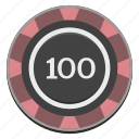 casino, chip, gamble, gambling, game, hundred icon
