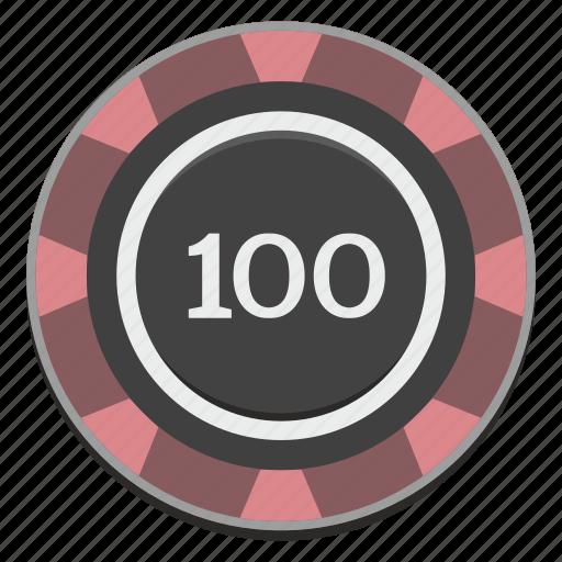 casino, chip, gamble, gambling, game, hundred icon