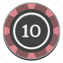 casino, chip, gamble, gambling, game, ten icon