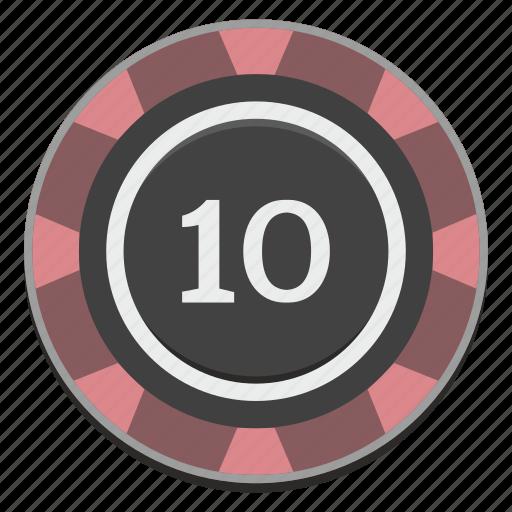 casino, chip, gamble, gambling, game, ten icon