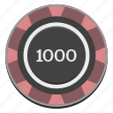 casino, chip, gamble, gambling, game, thousand icon