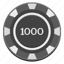 casino, chip, dark, gamble, game, thousand icon
