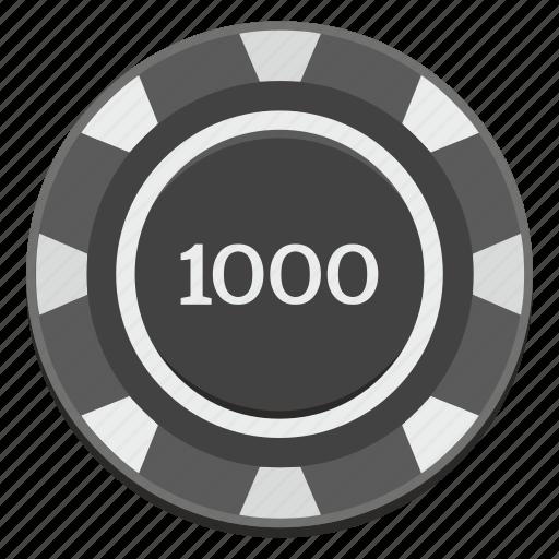 casino, chip, dark, gamble, game, thousand icon