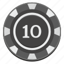 casino, chip, gamble, game, ten icon