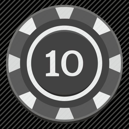 casino, chip, gamble, game, ten icon
