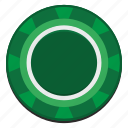 casino, chip, gamble, game, green icon