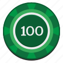 casino, chip, dollars, gamble, green, hundred, usd icon