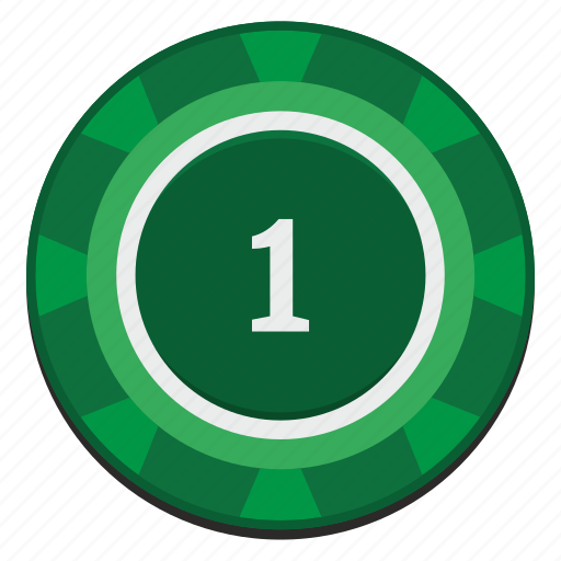 casino, chip, dollar, green, nominal, one icon