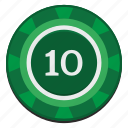 casino, chip, dollars, green, ten, usd icon