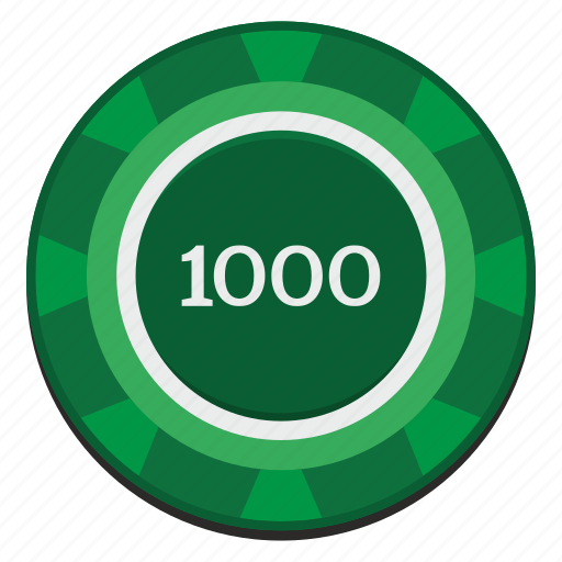 casino, chip, dollars, green, nominal, thousand, usd icon
