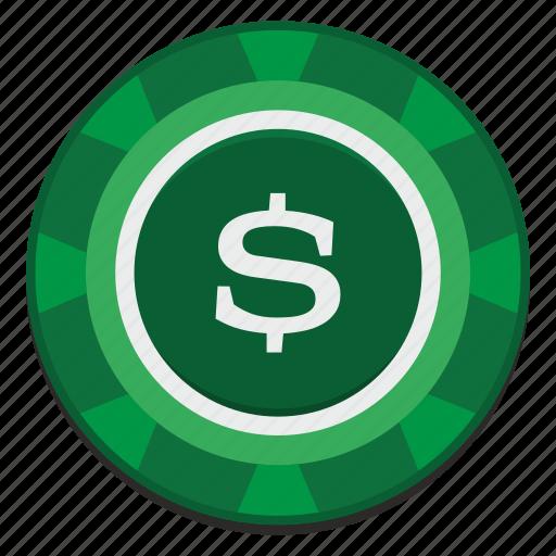 casino, chip, dollar, gamble, game, green, usd icon