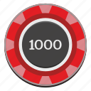 casino, chip, gamble, game, red, thousand icon