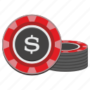 casino, chip, dollar, gamble, game, red, usd icon