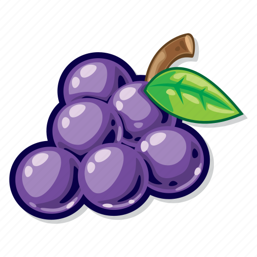 casino games, fruit, grapes, slot icon