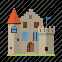 architecture, building, castle, fortress, mansion, medieval, villa icon
