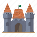 architecture, building, castle, fortress, medieval, shingled, towers icon