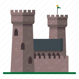 architecture, building, castle, fortress, medieval, towers icon